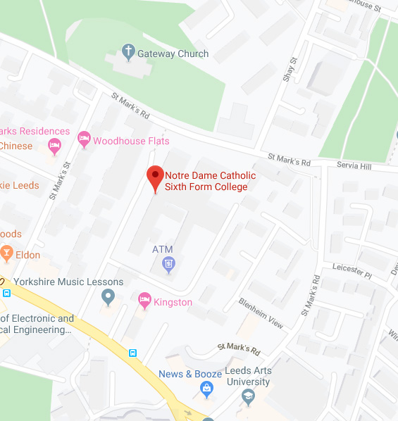 Map of where to find Notre Dame Catholic Sixth Form College